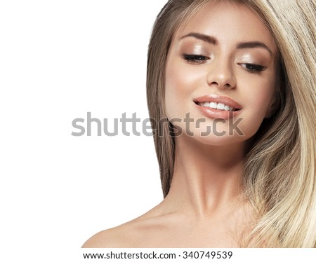 Beautiful woman face blonde hair portrait close up studio on white long hair - stock photo