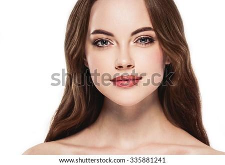 Beautiful woman face close up portrait studio on white  - stock photo