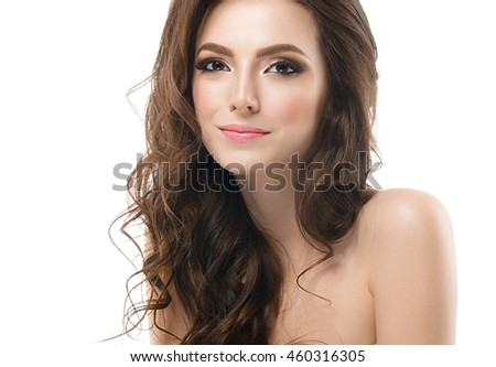 Beautiful woman face close up portrait with long beauty curly hair studio on white