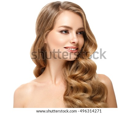 Beautiful woman face close up portrait young studio on white with curly long blonde amazing hair