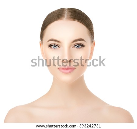 Beautiful woman face close up studio on white. Beauty spa model female with clean fresh perfect skin closeup. Youth fresh skin care concept. Portrait of girl looking at camera, smiling. Cosmetology. - stock photo
