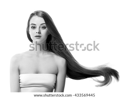 Beautiful woman face close up studio on white black and white   - stock photo