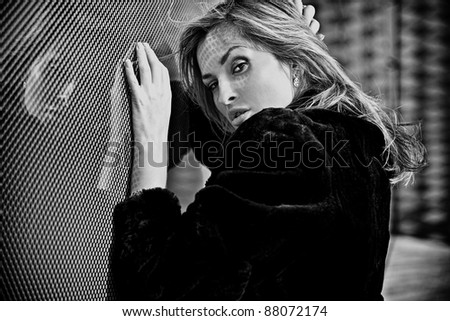 Beautiful Woman Face closeup. Black-white photo. - stock photo