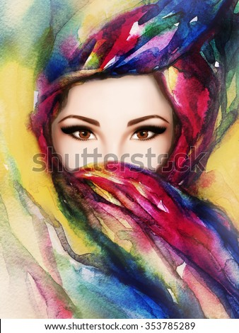 beautiful woman face. digital and watercolor art. abstract fashion illustration - stock photo