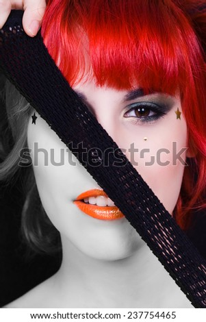 beautiful woman face, half white and half black and color - stock photo