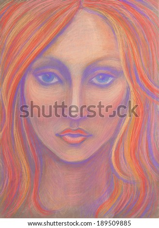 Beautiful woman face. Hand drawn fashion illustration. Pastel (crayons) on toned paper. - stock photo