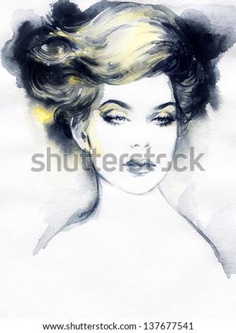 Beautiful woman face. Hand painted fashion illustration - stock photo