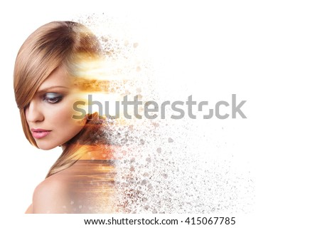 Beautiful woman face in double exposure crushed