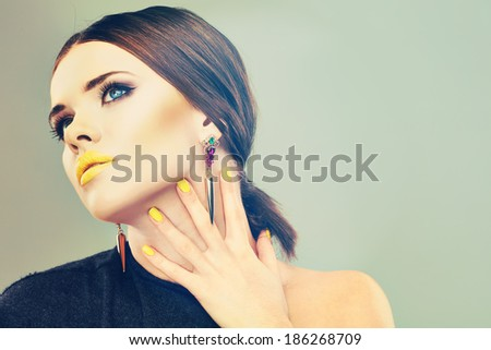 Beautiful woman face. Isolated beauty portrait. - stock photo