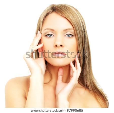 Beautiful woman, face isolated - spa skin care - stock photo