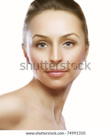 Beautiful Woman Face. Perfect Skin - stock photo