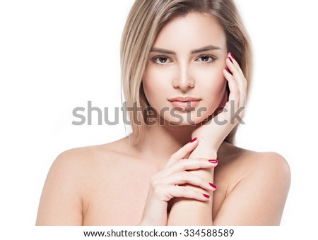 Beautiful woman face portrait close up studio on white blonde  - stock photo