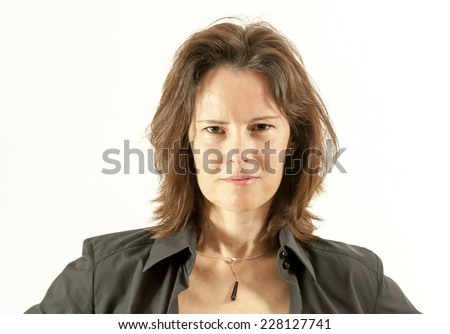 Beautiful Woman Face Portrait Looking Direct to the Camera  - stock photo
