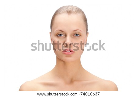 beautiful woman face portrait over white - stock photo