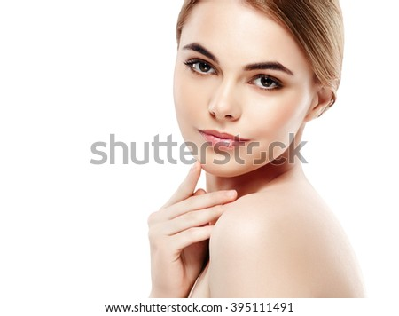 Beautiful woman face studio on white with sexy lips - stock photo
