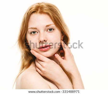 Beautiful woman face studio on white with sexy lips red hair