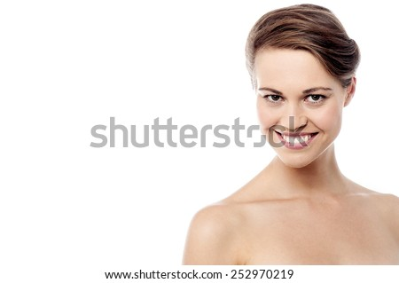 Beautiful woman face with clean skin - stock photo