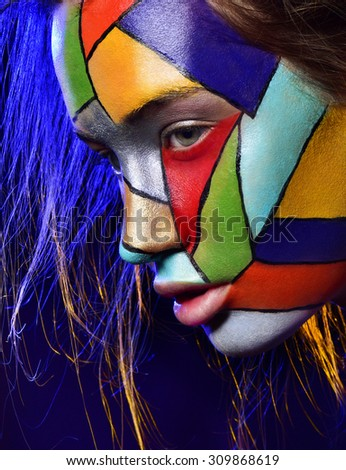 beautiful woman face with professional makeup, bright colors. close up portrait. - stock photo
