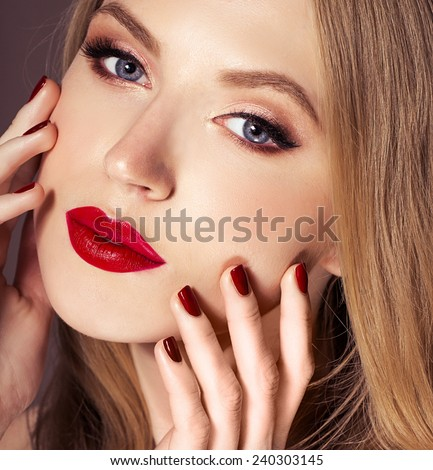 Rapid Plans For Date Women Online stock photo beautiful woman face with red lips and professional make up 240303145