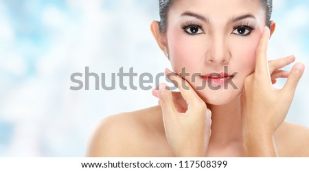 Beautiful woman face with smile for skincare, cosmetic, beauty hygiene, makeup, moisturize - stock photo