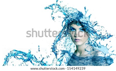 Beautiful woman face with water. Purity concept background. - stock photo