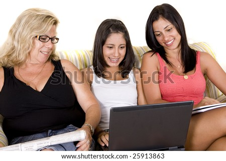 beautiful woman family sitting on the sofa