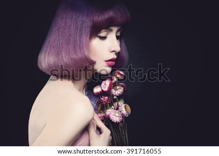 Beautiful Woman Fashion Model. Bob Haircut. Purple Color Hairstyle. Makeup - stock photo