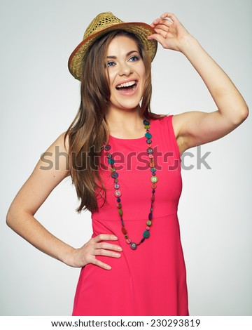 beautiful woman fashion posing in red dress. female smiling model. isolated. - stock photo