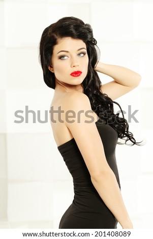 Beautiful woman, fashion shoot - stock photo