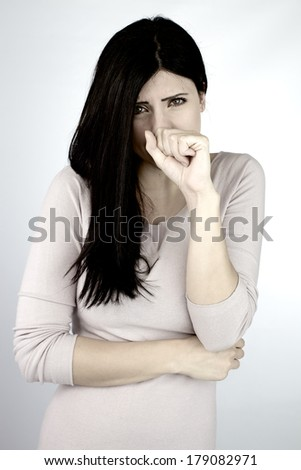 Beautiful woman feeling very sick with allergy - stock photo