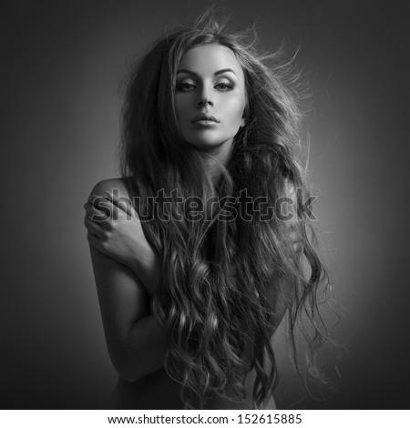 Beautiful Woman. Fluttering Long Hair. - stock photo