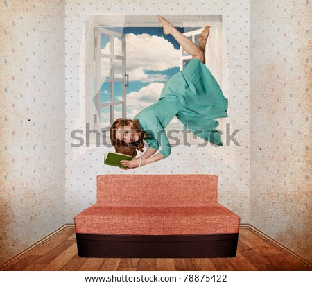 beautiful woman fly in vintage room, collage