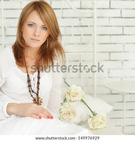 Beautiful woman, glamour style - stock photo