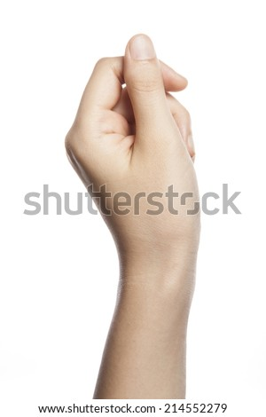 Beautiful woman hand holding ticket or money isolated on white background - stock photo
