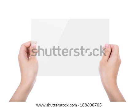 Beautiful woman hand holding transparent white device isolated on white background - stock photo