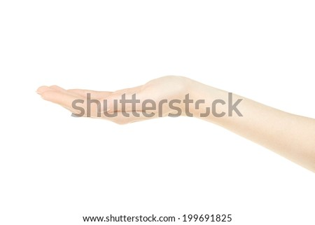 Beautiful woman hand open, palm up isolated on white, clipping path included