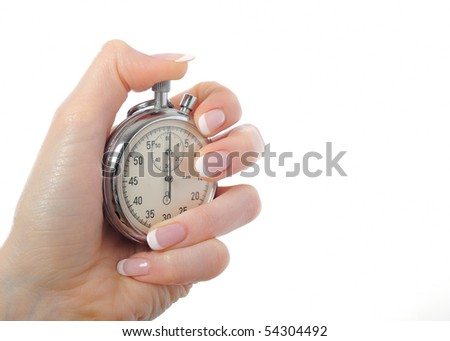 Beautiful woman hand with stop watch. isolated on white background - stock photo