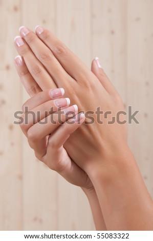 beautiful woman hands - stock photo
