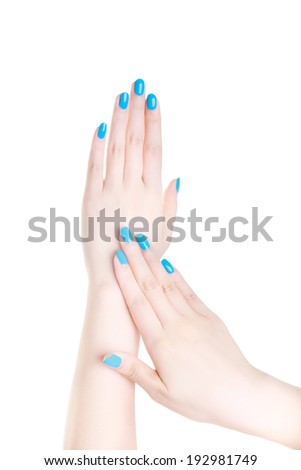 Beautiful woman hands applying cream  isolated on the white background - stock photo