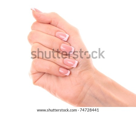 Beautiful woman hands isolated on white - stock photo
