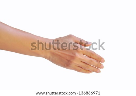 Beautiful woman hands isolated on white background. - stock photo