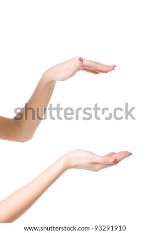 Beautiful woman hands open isolated on white background - stock photo
