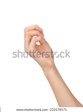 Beautiful woman hands with french manicure isolated on white background. - stock photo