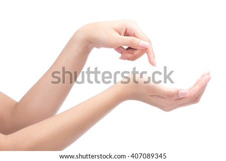 Beautiful woman hands with french manicure nails isolated on white with clipping path.