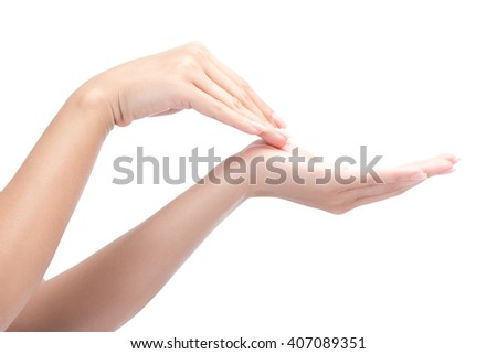 Beautiful woman hands with french manicure nails isolated on white with clipping path. - stock photo