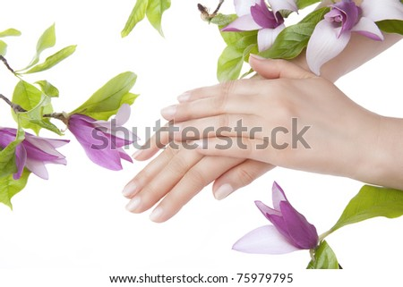 Beautiful woman hands with pink manicure and magnolia flowers. isolated on white background - stock photo
