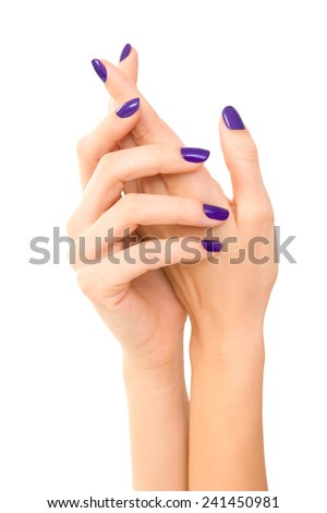 Beautiful Woman hands with purple manicure. Makeup, fashion, beauty, Hand care. white background - stock photo