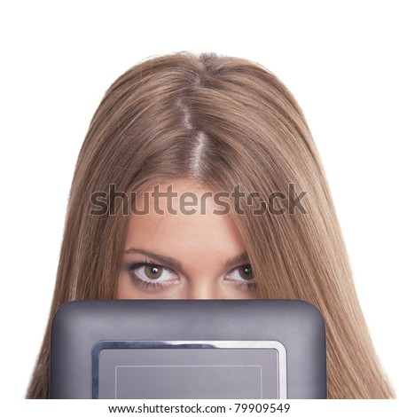 Beautiful Woman Hiding Face With Tablet Computer - stock photo