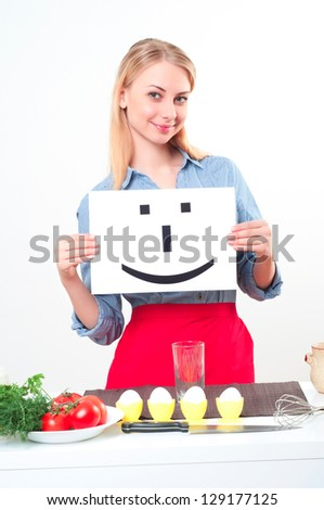 beautiful woman hold sign with smile, over white background - stock photo