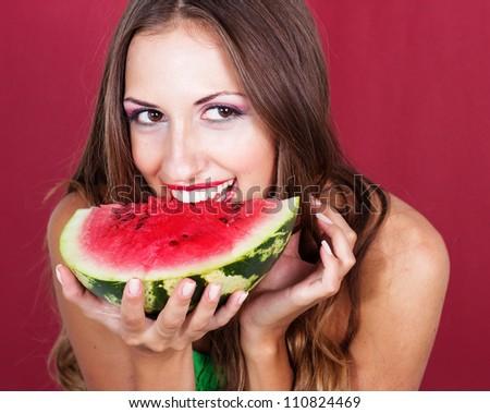 beautiful woman hold watermelon - stock photo